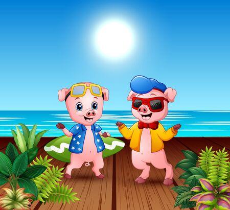 Cute cartoon pigs in summer holiday Illustration