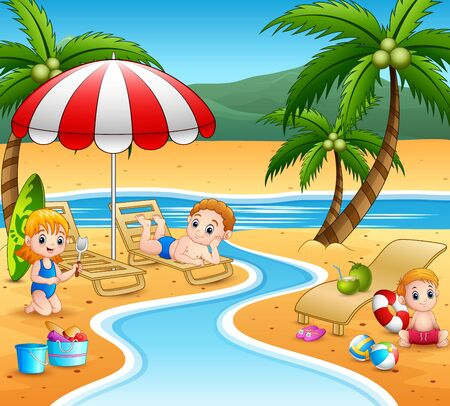 Cartoon children relax at the beach Vettoriali