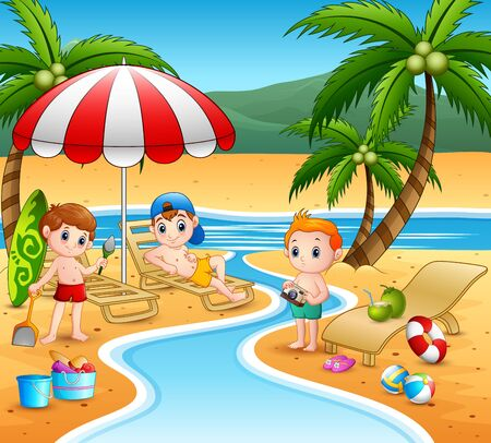 Happy boys playing in the beach Stock Illustratie
