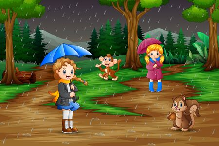 Cartoon two girl playing with animals under the rain 写真素材
