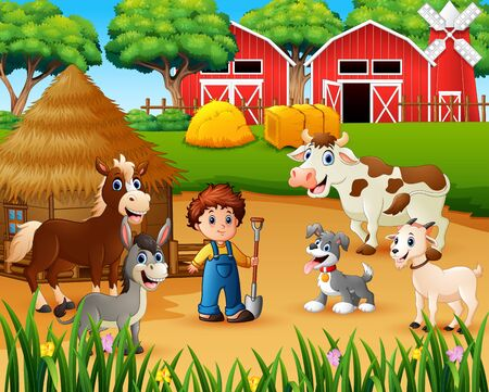 Farmer and farm animal in the farmyard Stockfoto