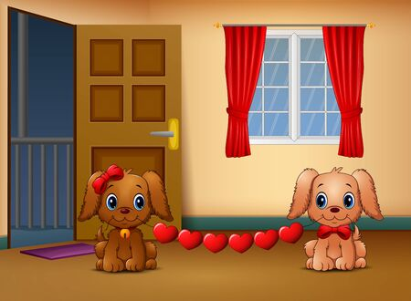 Cute two dogs bite heart in the living room