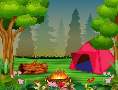 Forest camping concept with pink tent Stock Photo