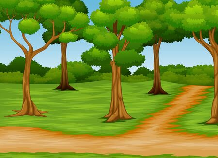 Cartoon of forest scene with dirt road Stockfoto