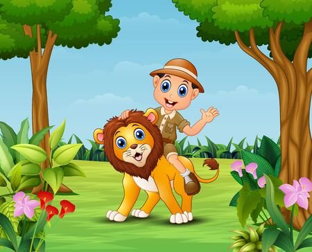 Happy zookeeper boy and lion in a beautiful garden