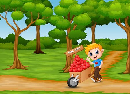 Cartoon boy pushing a pile of hearts in wood trolley on the garden path