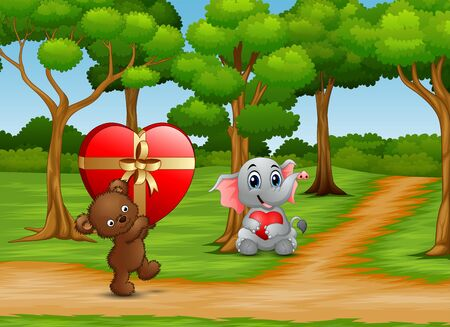 Cartoon of Teddy bear and baby elephant carrying a red heart Stockfoto