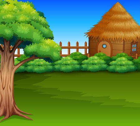 Cartoon of Wood cabin in a green field Stockfoto
