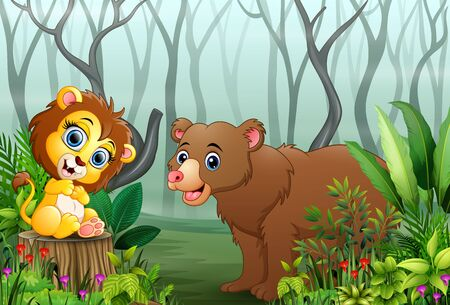 Cartoon wild animal in the forest with dry tree branches background