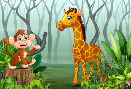 Animals cartoon in a foggy forest with views of dry tree branches Stockfoto