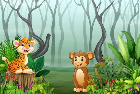 View of forest plants in the fog with a leopard and monkey
