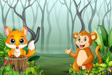 View of forest plants in the fog with a fox and monkey
