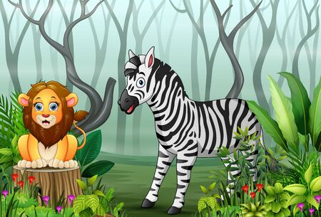 View of forest plants in the fog with a lion and zebra