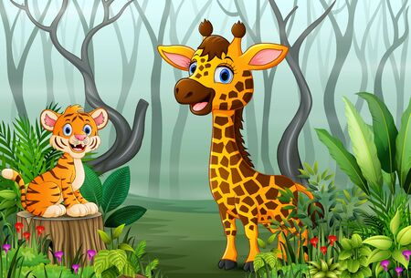 View of forest plants in the fog with a tiger and giraffe Stockfoto