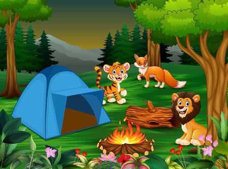 Cartoon some wild animals near the blue tent Stok Fotoğraf