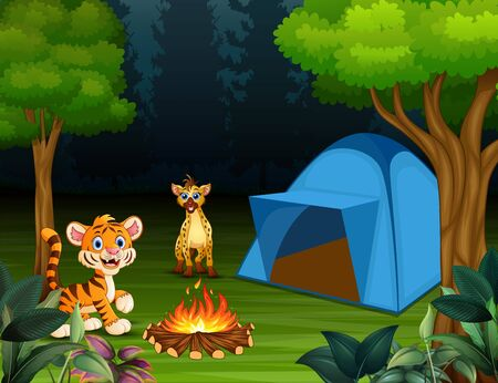 Cartoon a baby tiger and hyena in the campsite