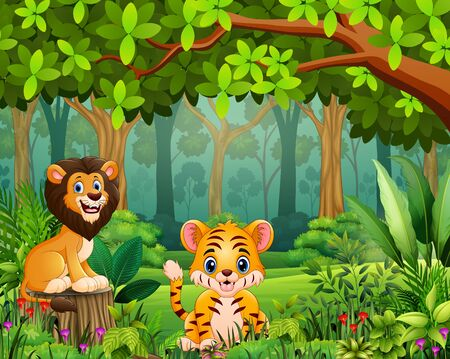 Happy wild animal cartoon in a beautiful green forest