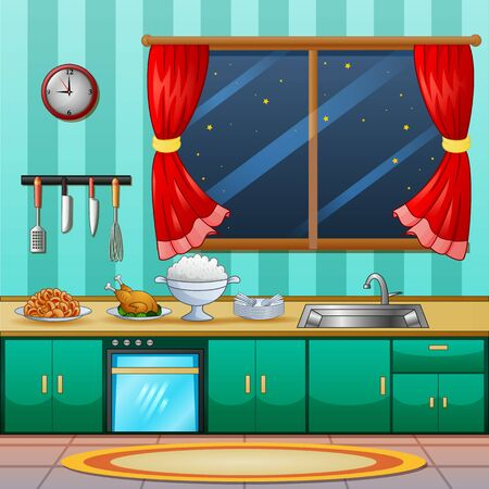 Background of kitchen interior with cuisine for dinner