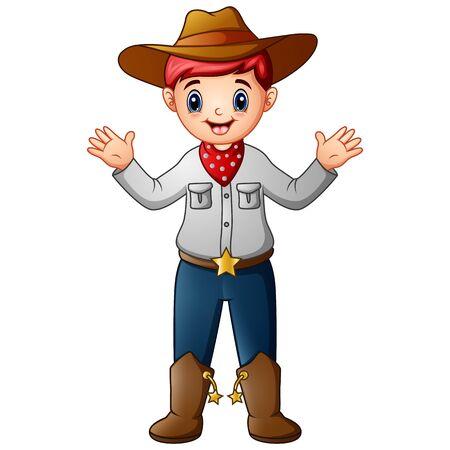 Funny cartoon cowboy on white background