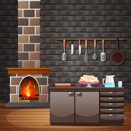 Chimenea en la casa tradicional cerca de la cocina. Ilustración de vector