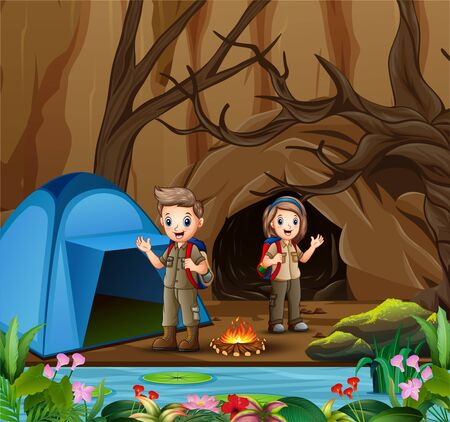 Young scout in the camping zone scene
