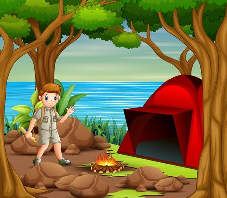 Scout boy camping out in the nature background 向量圖像