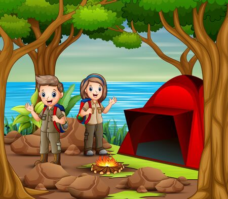 Scout boy and girl in explorer outfit camping out in nature Illusztráció