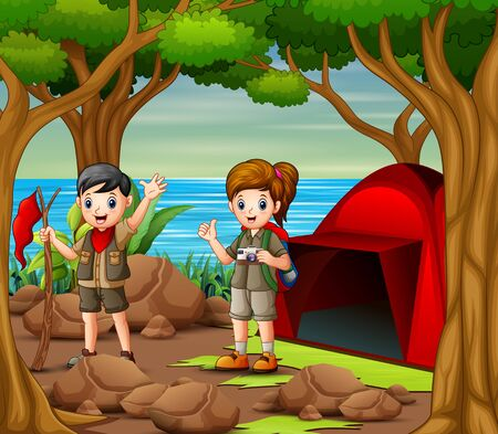 Cartoon kids in explorer outfit camping out in nature