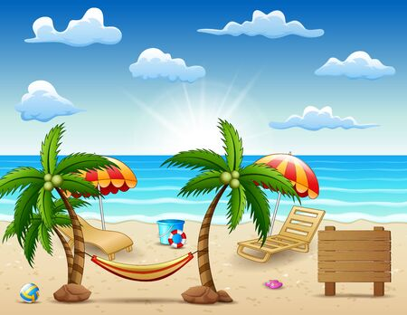 Sea in summer time with travel accessories around the world concept