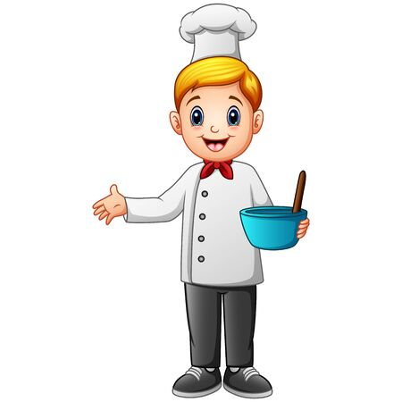 Cute young chef in uniform holding mixing bowl and a whisk