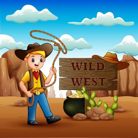Cowboy twirling a lasso in wild west background 向量圖像