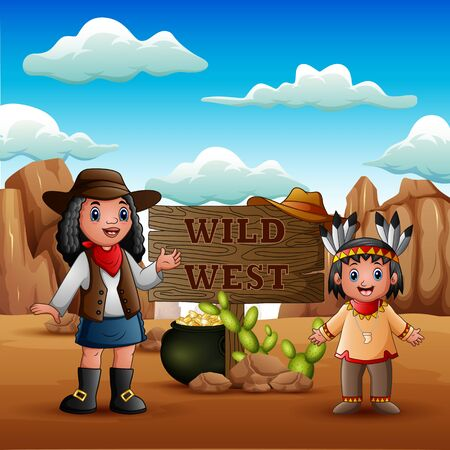 Wild west with young african cowgirls and indian girl 向量圖像