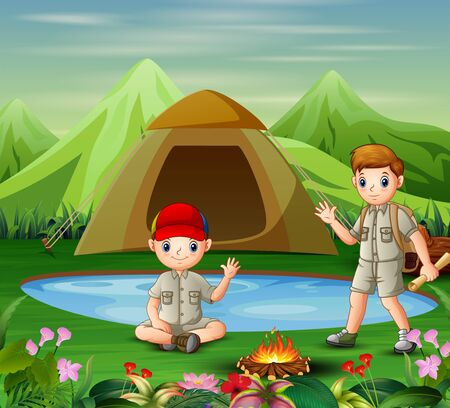 Two boys meet at the campsite Ilustrace