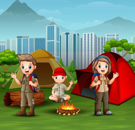 Cartoon scout boys and girl at campsite