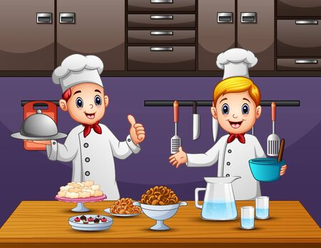 Two young chefs preparing food in the kitchen Illustration