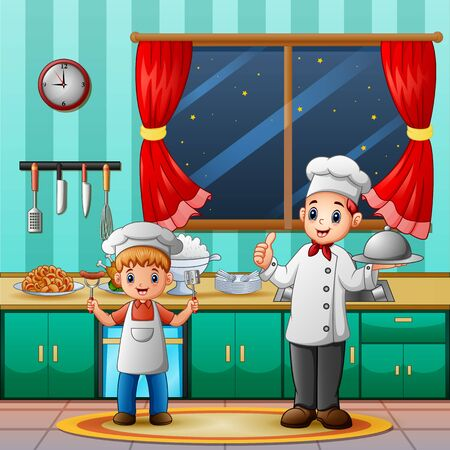 A chef man with her son cooking in the kitchen