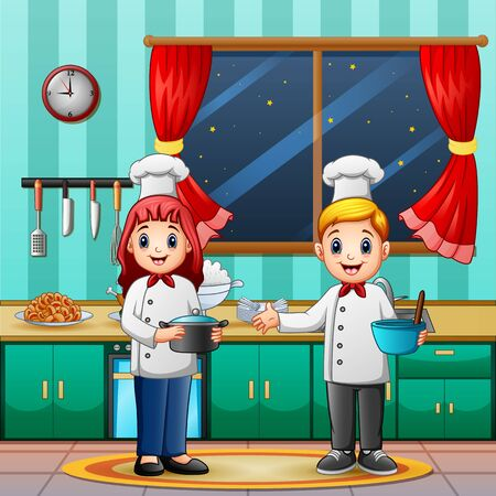 Man and woman chef in the kitchen