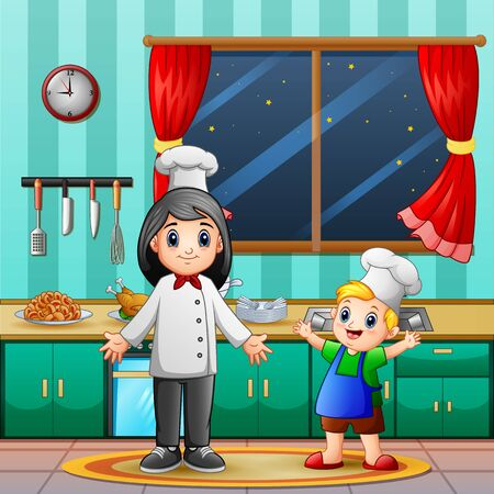 A mother and her son cooking in the kitchen Illustration