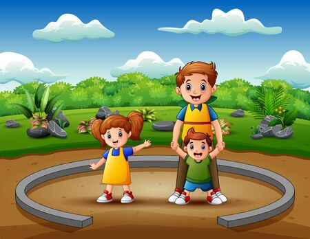 Cartoon father with his children enjoying together
