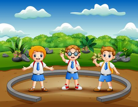 Cartoon school children on the nature park