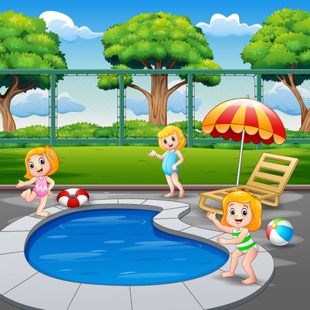Happy little girls playing in the swimming pool Illustration