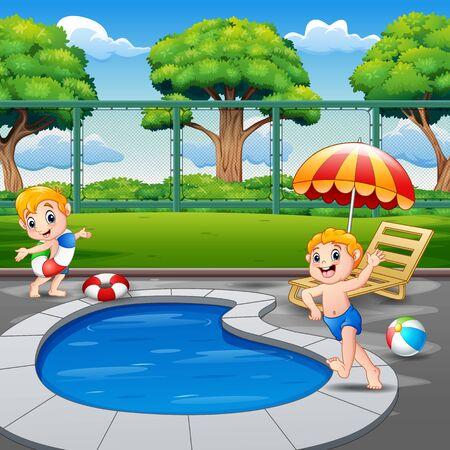 Two boys running on pool edge in backyard