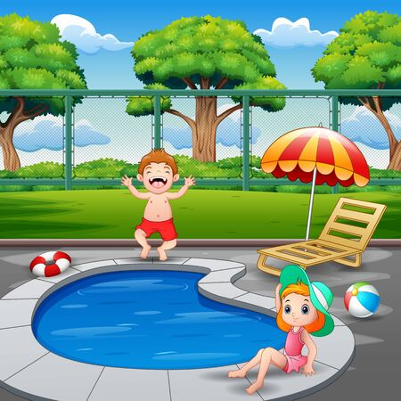 Happy boy and girl enjoying playing in outdoor pool