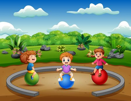 Funny little kids sitting on the ball