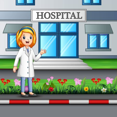 A nurse standing in front of hospital building