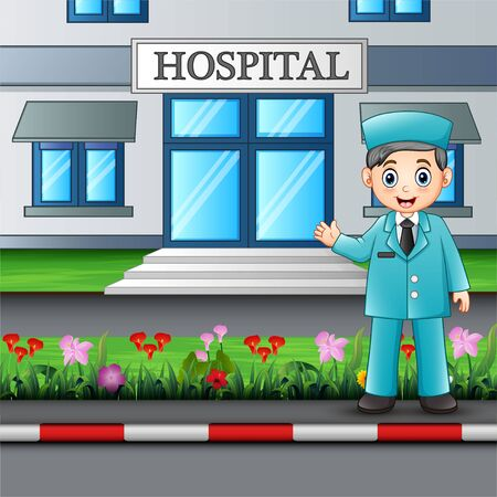 A doctor standing in front of hospital building