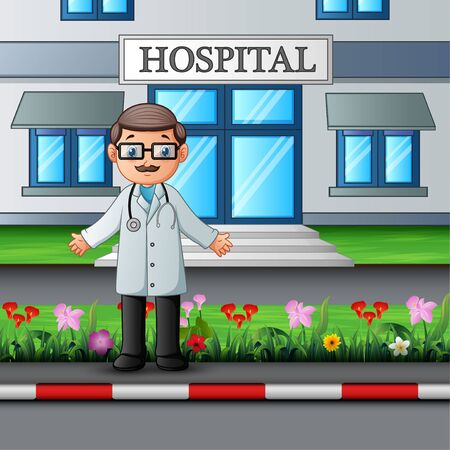 Cheerful doctor standing in front of hospital building