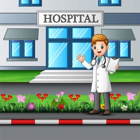 Young doctor standing in front of hospital building
