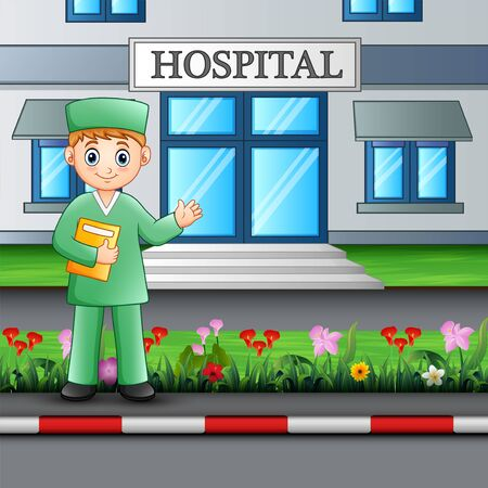 Man nurse standing in front of hospital building