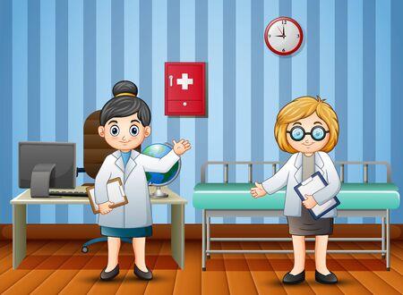 Cartoon doctor and nurse in the hospital